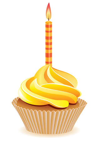 yellow cupcake with burning candle Stock Vector - 7806467