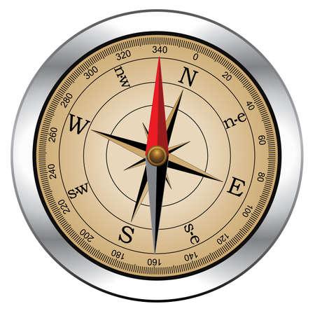 single red rose:  vintage compass Illustration