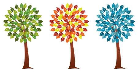 set of seasonal trees Vector