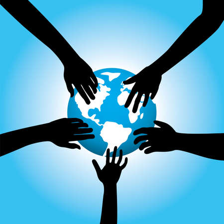 illustration of five hands touching earth Vector