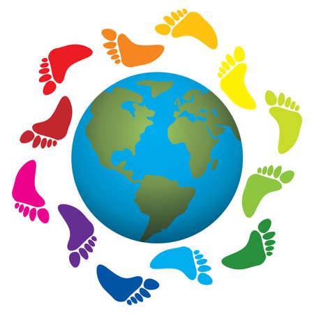 rainbow print:   illustration of foot prints around the earth