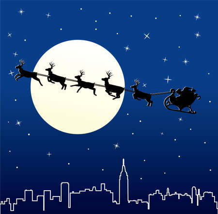 urban holiday background with santa Stock Vector - 7908684
