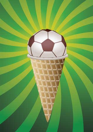summer diet:  illustration of soccer fan ice-cream Illustration