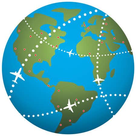 airplane flight paths over earth globe Vetores