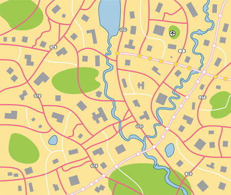detailed city map Vector