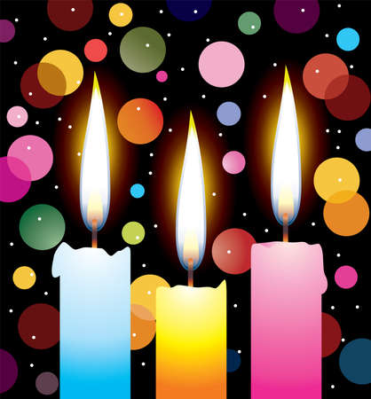 colorful candles with lights Vector