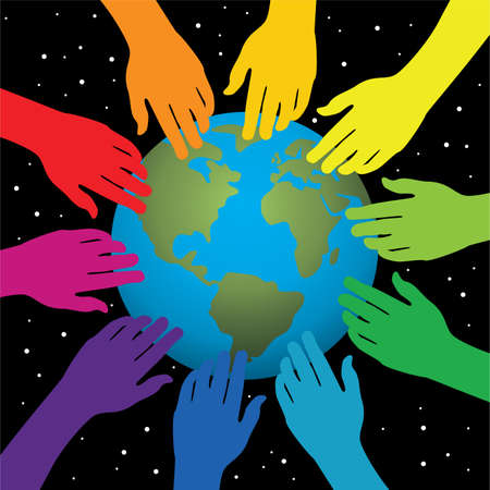 background of hands touching earth Vector