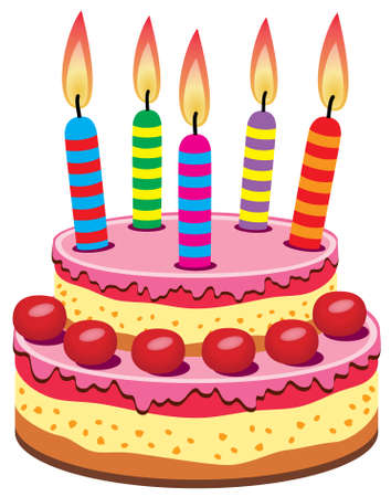 pink cake:   birthday cake with burning candles Illustration