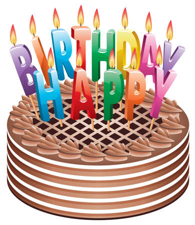birthday chocolate cake with burning candles Vector