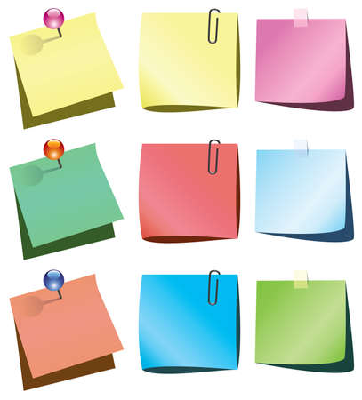 paper notes with push pin and paperclip Stock Vector - 7974584