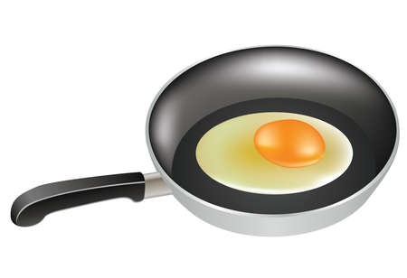 half-cooked egg in a frying pan Vector
