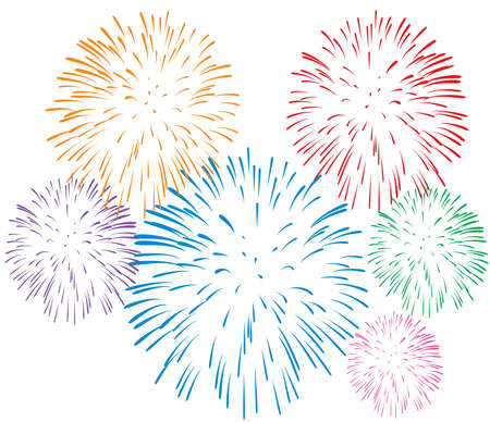firework: colorful fireworks on white background Illustration