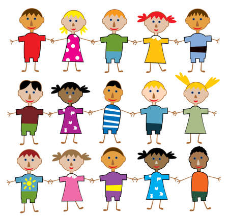 rows of young children Stock Vector - 8026850