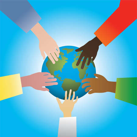 five hands touching earth Vector