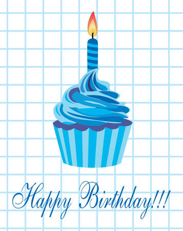 birthday cupcake with burning candle Vector