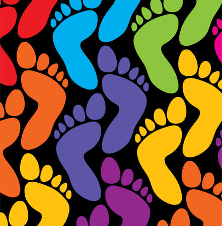 big toe: colorful feet background Illustration