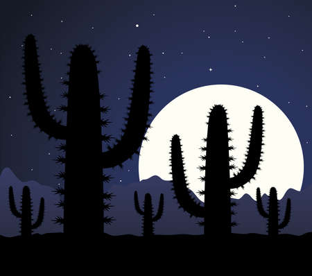 cactus in desert at night Stock Vector - 8026890