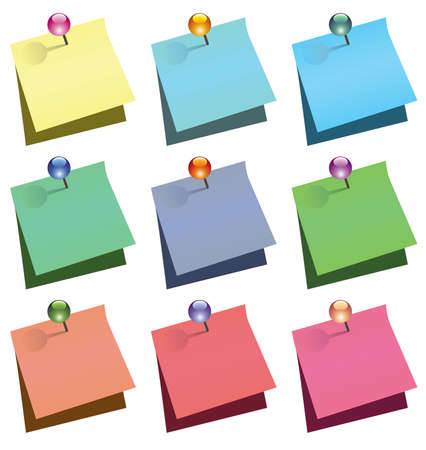 note de service: note de papier avec push brillant broches  Illustration