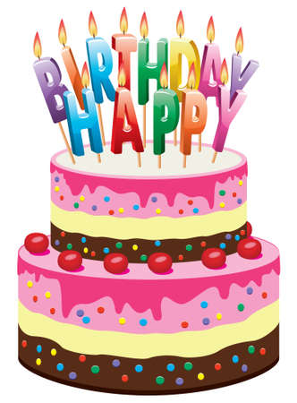 delicious cake with cherries and burning birthday candles Vector