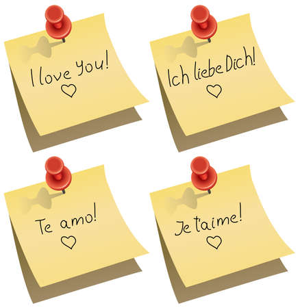 push pin: yellow paper note with push pin and I love you words in english, german, spanish and french
