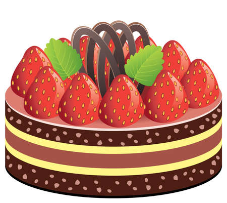 cake with strawberry and chocolate Vector