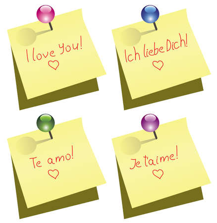 yellow paper notes with push pin and I love you words in english, german, spanish and french Vector