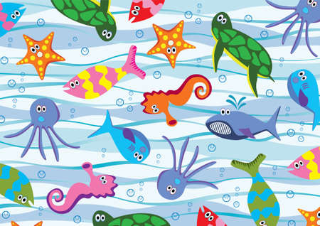 colorful sea animals Vector