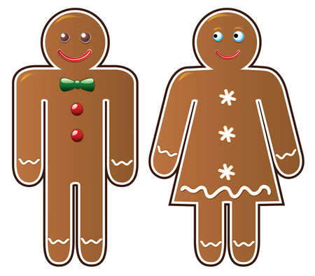 two gingerbread cookies Stock Vector - 8088169