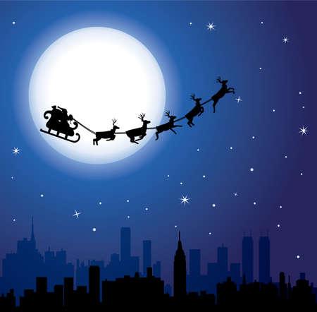 reindeer christmas: Fondo de vacaciones urbanas con santa