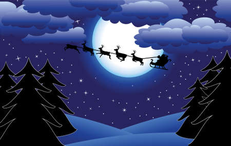 holiday background with santa and trees Vector
