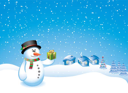 vector design with snowman, gift, village and decorated tree Vector