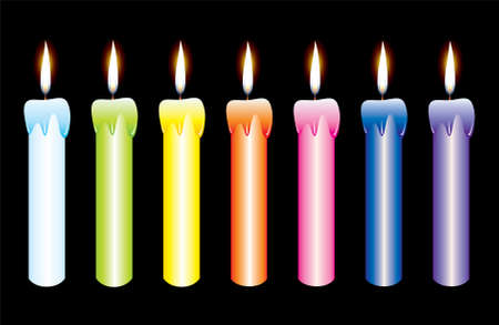 seven candles on black background Vector