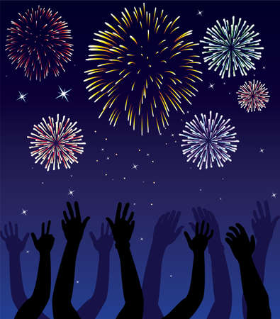 fireworks and hands on blue background Vector