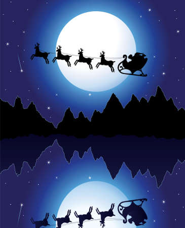 man in the moon: holiday background with santa, mountains and icy lake