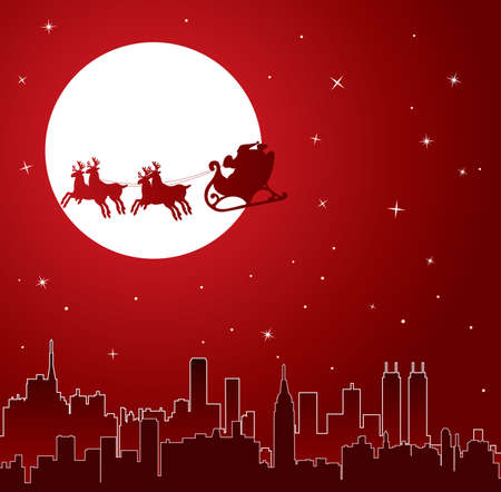 urban holiday background with santa  Vector