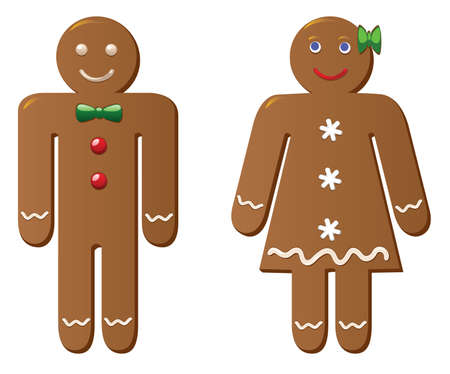 two gingerbread cookies Vector