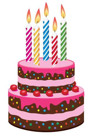tortas de cumplea�os: pastel de cumplea�os con la grabaci�n de velas  Vectores