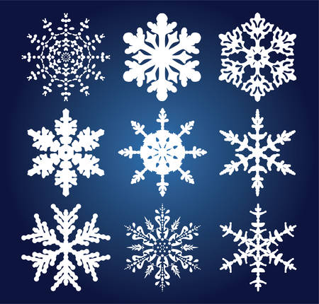 snow flake: vector set of 9 snowflakes Illustration