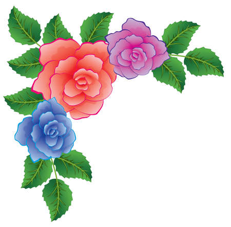 green and purple: colorful roses with leaves