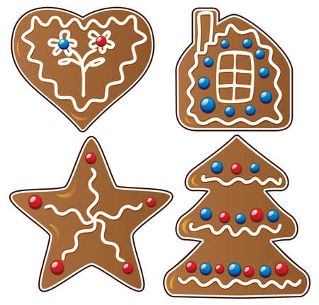 gingerbread cake: vector set of four gingerbread cookies