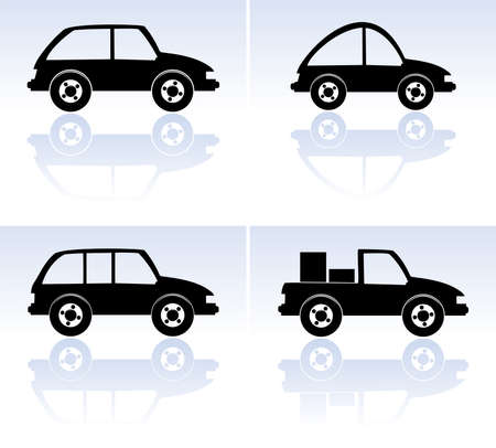 set of black cars Stock Vector - 8145053