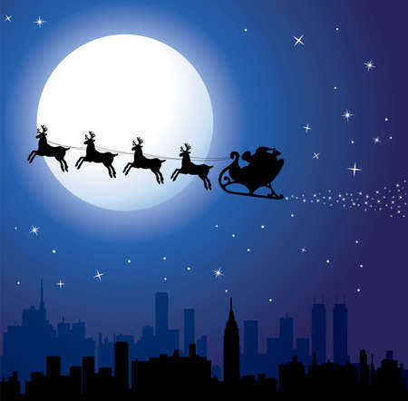 urban holiday background with santa Stock Vector - 8219529