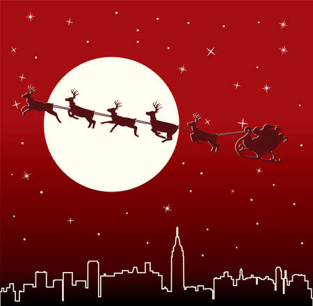 urban holiday background with santa Stock Vector - 8219530