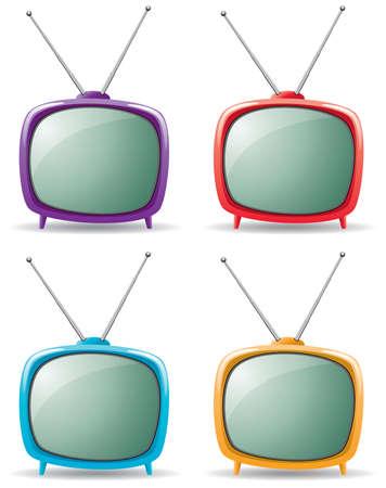 vintage grunge image: Vector televisore retr�