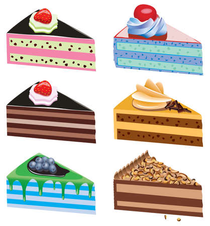 vector cake slices with fruits and chocolate Vector
