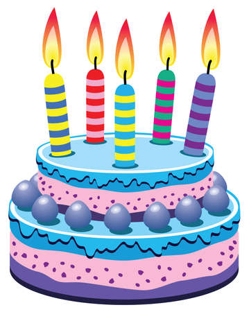 pink cake: vector birthday cake with burning candles