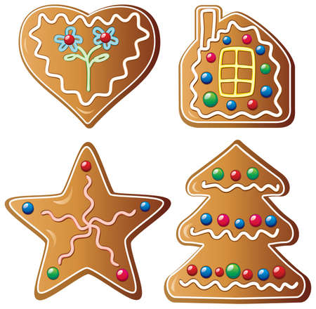 vector set of four gingerbread cookies Stock Vector - 8219531