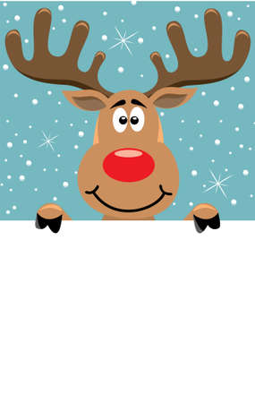 vector xmas illustration of rudolph deer holding blank paper for your text Stock Vector - 8219519