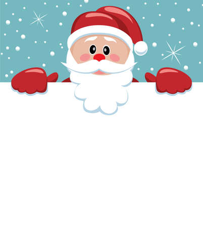 santa hat: vector xmas illustration of santa holding blank paper for your text
