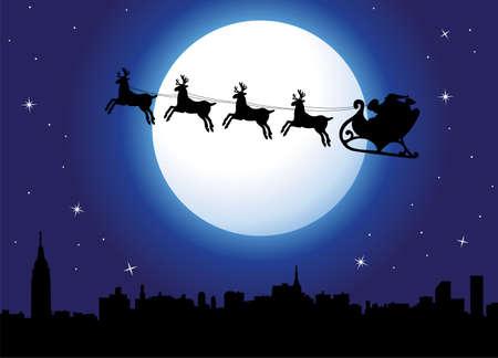 santa claus greeting: urban holiday background with santa